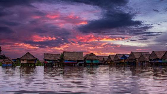 Amazon, Brazil. A village on stilts.